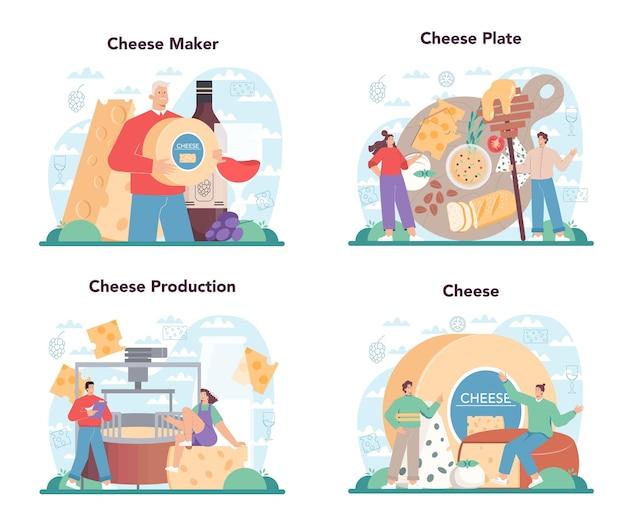Conjunto de conceitos de fabricante de queijos. chef profissional fazendo bloco de queijo