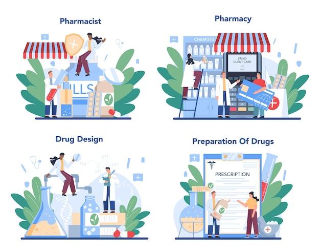 Conjunto de conceitos de farmácia