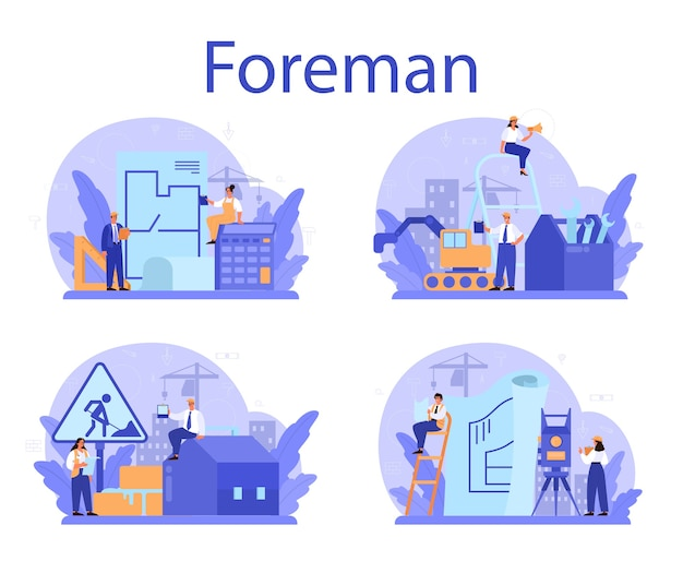 Conjunto de conceitos de foreman. engenheiro principal liderando no canteiro de obras.