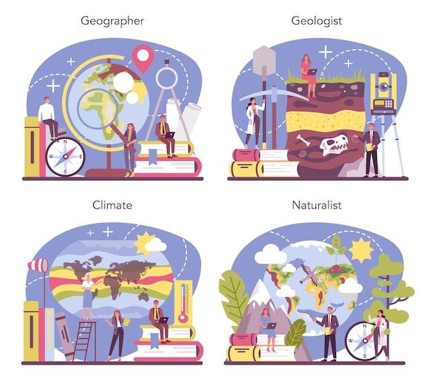 Conjunto de conceitos de geógrafo