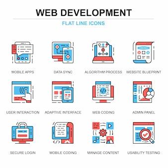 Conjunto de conceitos de ícones de desenvolvimento web linha plana
