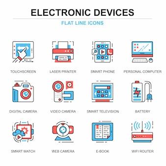 Conjunto de conceitos de ícones de dispositivos de computador pessoal linha plana