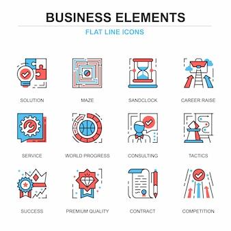 Conjunto de conceitos de ícones de elementos de negócios de linha plana