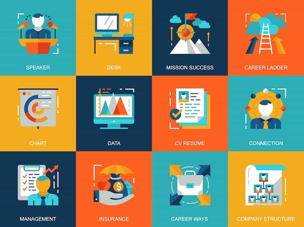 Conjunto de conceitos de ícones de gestão conceitual plana