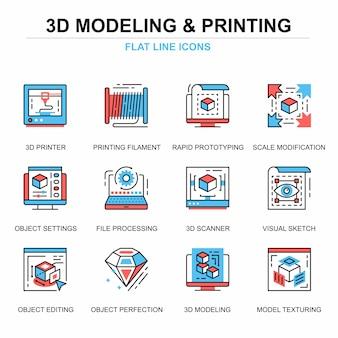 Conjunto de conceitos de ícones de impressão e modelagem 3d de linha plana