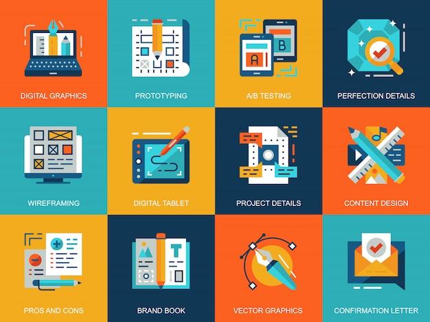 Conjunto de conceitos de ícones de processo criativo conceitual plana
