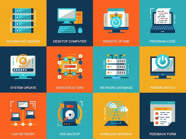Conjunto de conceitos de ícones de tecnologia de rede plano conceitual