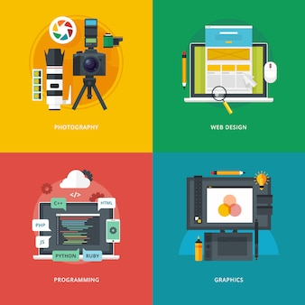 Conjunto de conceitos de ilustração para fotografia, design web, programação, gráficos. idéias de educação e conhecimento. tecnologias da informação e artes digitais.