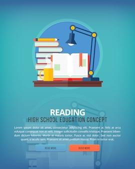 Conjunto de conceitos de ilustração para leitura. idéias de educação e conhecimento. eloquência e arte oratória.
