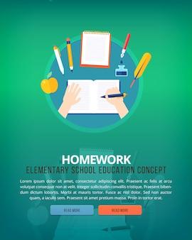 Conjunto de conceitos de ilustração para trabalhos de casa. ilustrações de conceito de educação e ciência.