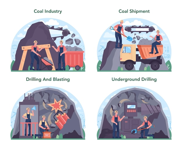 Conjunto de conceitos de indústria de carvão. extração de recursos minerais e naturais.