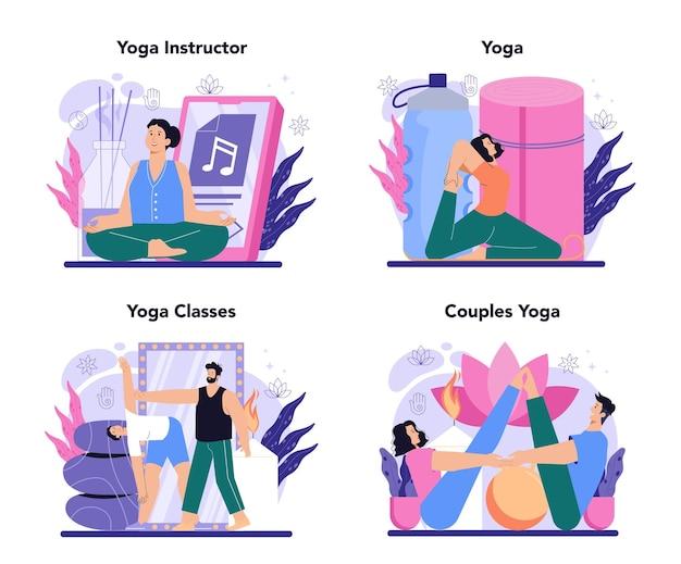 Conjunto de conceitos de instrutor de ioga. asana ou exercícios para homens e mulheres.