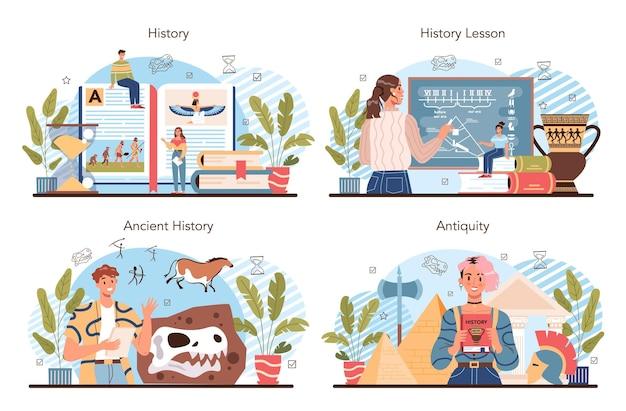 Conjunto de conceitos de lição de história. disciplina escolar de história, conhecimento do passado e civilizações antigas. ideia de ciência e educação. ilustração em vetor isolada em estilo simples