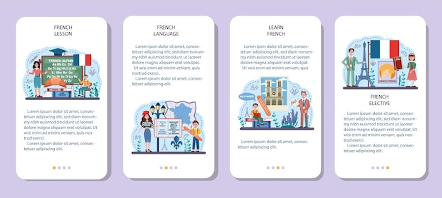 Conjunto de conceitos de língua francesa. curso de francês na escola de línguas. estudar estrangeiro