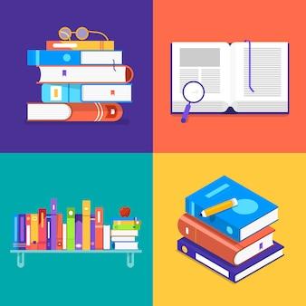 Conjunto de conceitos de livros. ilustrar.