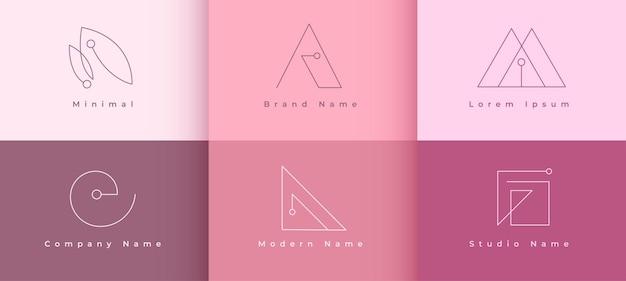 Conjunto de conceitos de logotipos de linha mínima