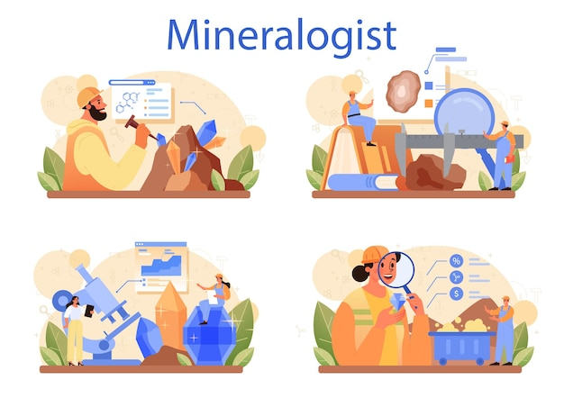 Conjunto de conceitos de mineralogista. cientista profissional estudando pedra natural