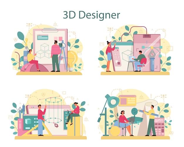 Conjunto de conceitos de modelagem 3d de designer