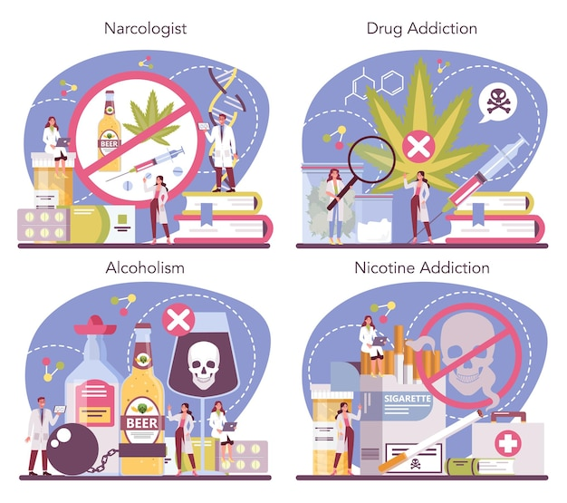 Conjunto de conceitos de narcologista. médico especialista profissional. dependência de drogas, álcool e tabaco. idéia de tratamento médico para viciados em drogas.