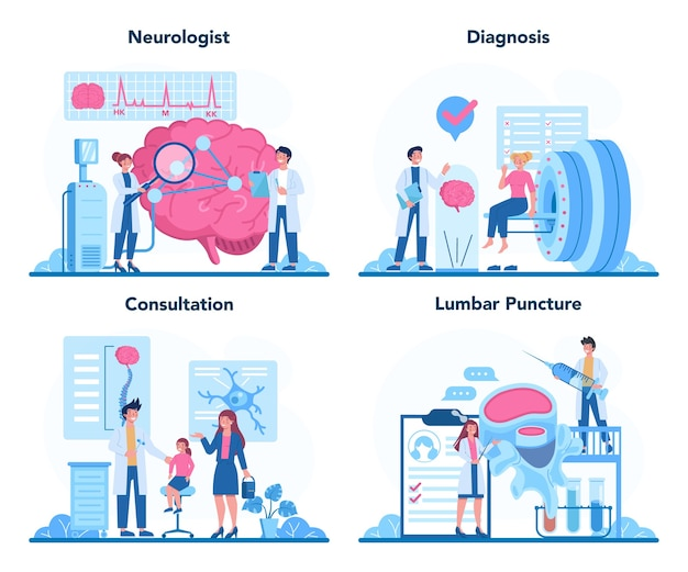 Conjunto de conceitos de neurologista. o médico examina o cérebro humano. idéia de médico se preocupando com a saúde do paciente.