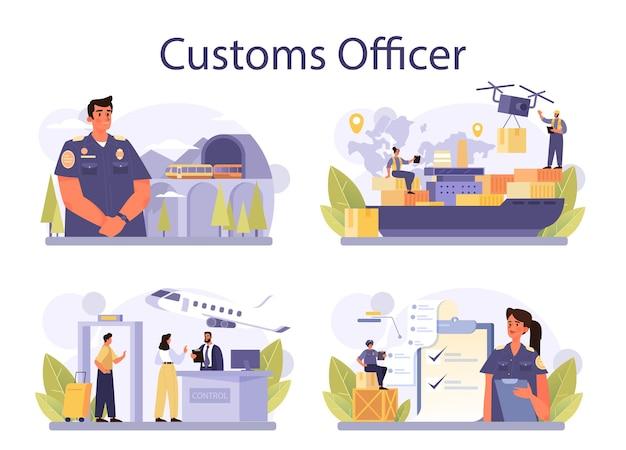Conjunto de conceitos de oficial alfandegário
