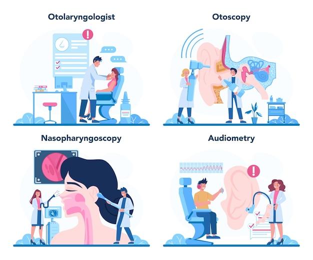 Conjunto de conceitos de otorrinolaringologista. conceito de saúde, ideia de médico ent se preocupando com a saúde do paciente.