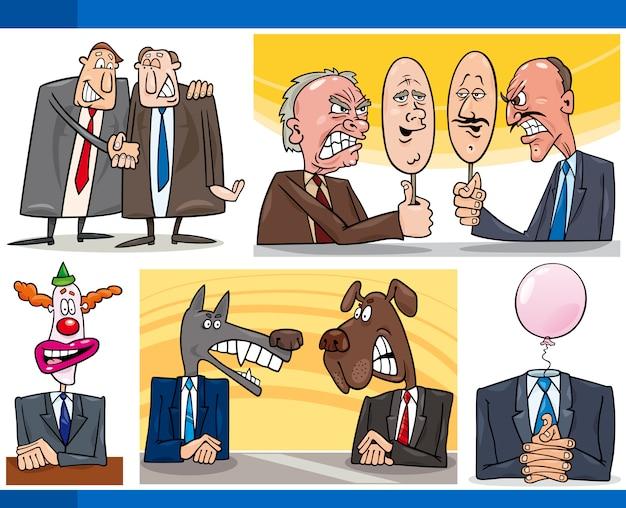 Conjunto de conceitos de política de desenhos animados