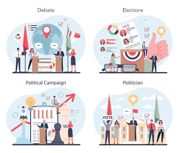 Conjunto de conceitos de político. ideia de eleição e governo.