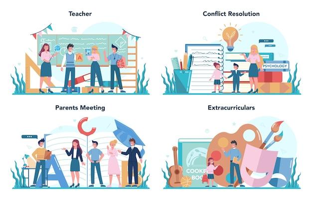 Conjunto de conceitos de professor. professor em frente ao quadro-negro funcionários da escola ou faculdade com ferramentas disciplinares profissionais. ideia de educação e conhecimento.