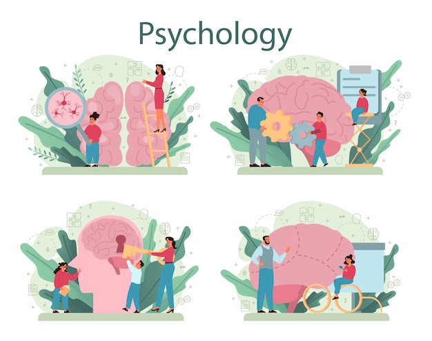 Conjunto de conceitos de psicologia. estudo de saúde mental e emocional. estudar a mente e o comportamento humano.