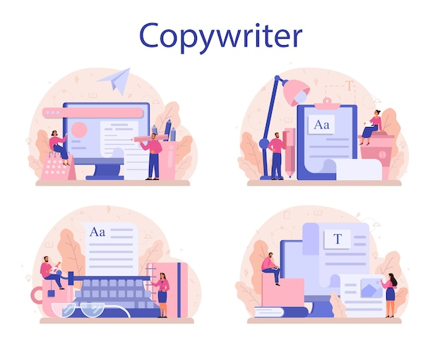 Conjunto de conceitos de redator. ideia de redação de textos, criatividade e promoção.