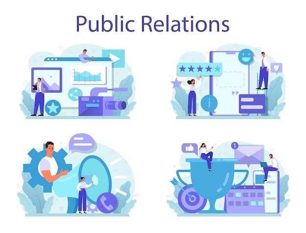 Conjunto de conceitos de relações públicas. ideia de publicidade de marca, construindo relacionamento com o cliente. manutenção da reputação da marca.