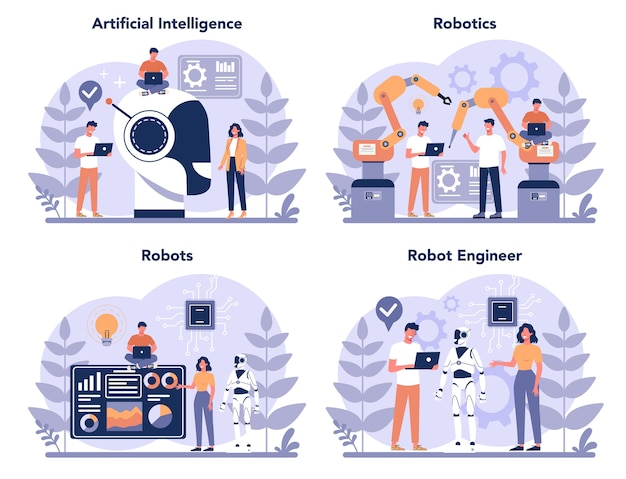 Conjunto de conceitos de robótica. engenharia e programação de robôs. ideia de inteligência artificial e tecnologia futurista. automação de máquinas. ilustração em vetor isolada em estilo cartoon