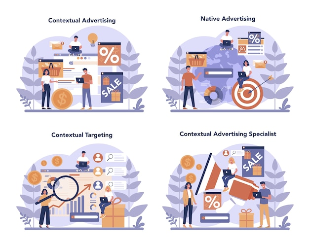 Conjunto de conceitos de segmentação e publicidade contextual