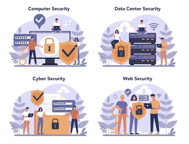Conjunto de conceitos de segurança cibernética ou web. ideia de proteção e segurança de dados digitais. tecnologia moderna e crime virtual. informações de proteção na internet. ilustração vetorial plana