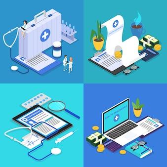 Conjunto de conceitos de seguro saúde. prancheta grande com documento