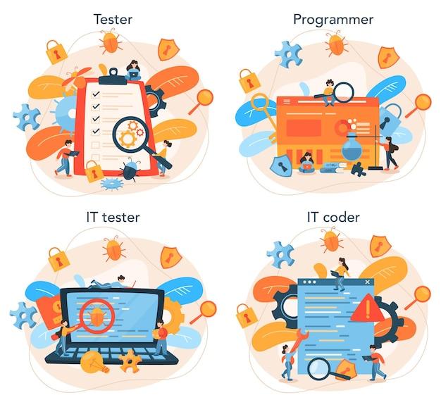 Conjunto de conceitos de software de teste