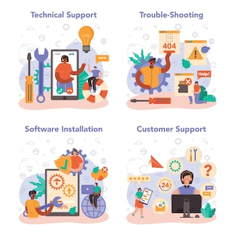 Conjunto de conceitos de suporte técnico. ideia de atendimento ao cliente. o consultor ajuda um cliente com problemas técnicos, fornecendo informações de configuração ao cliente. solução de problemas. ilustração vetorial plana