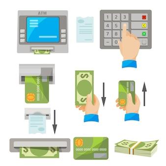 Conjunto de conceitos de uso de atm. mão humana apertando botões, indicações de inserção de cartão de crédito e recebimento de dinheiro em mãos, maço de dólares, cheque branco, máquina bancária dando dinheiro e cheque