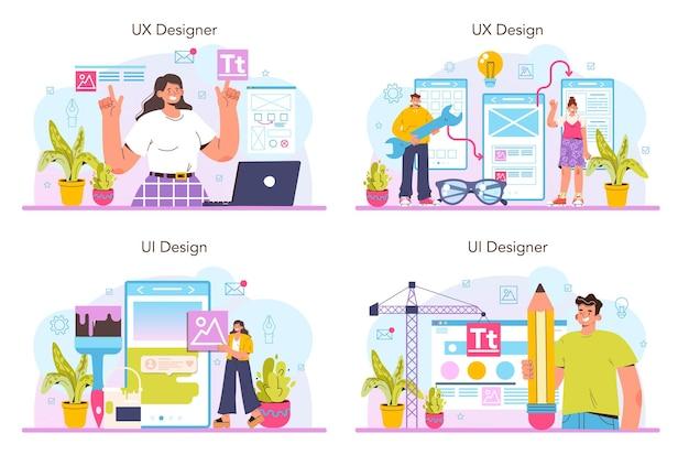 Conjunto de conceitos de ux e ui designer. melhoria da interface do aplicativo. design da interface do usuário e desenvolvimento da experiência do usuário. indústria de design digital moderno. ilustração vetorial plana