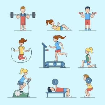 Conjunto de conceitos de vida de saúde de treino de esporte plano linear. mulher e homem fazendo exercícios de treinamento com ferro