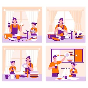Conjunto de conceitos para limpar a cozinha, lavar louça pela família. os filhos ajudam os pais.