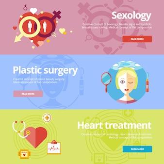 Conjunto de conceitos para sexologia, cirurgia plástica, tratamento cardíaco. conceitos médicos para web e materiais impressos.