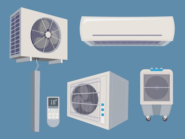 Conjunto de condicionador. ar condicionado, sistema de vento, ventilação, desenhos animados, coleção, itens inteligentes para casa.