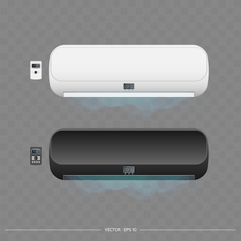 Conjunto de condicionadores de ar 3d. condicionador de ar de vetor realista.