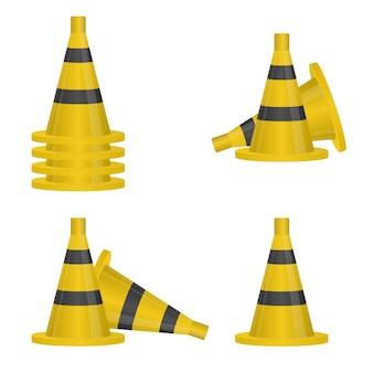 Conjunto de cone de tráfego preto e amarelo