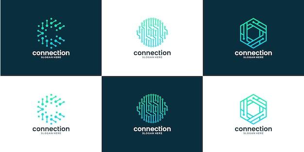Conjunto de conexão de ponto abstrato com design de logotipo da letra c