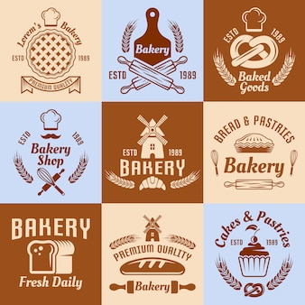 Conjunto de confeitaria e confeitaria com etiquetas, distintivos ou emblemas vintage