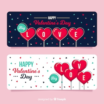 Conjunto de confete banner valentine