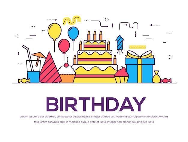 Conjunto de confetes festivos de feliz aniversário plana. elementos de festa e celebração: balões, bebidas, presentes.
